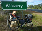 picture of coffee dog under Albany sign